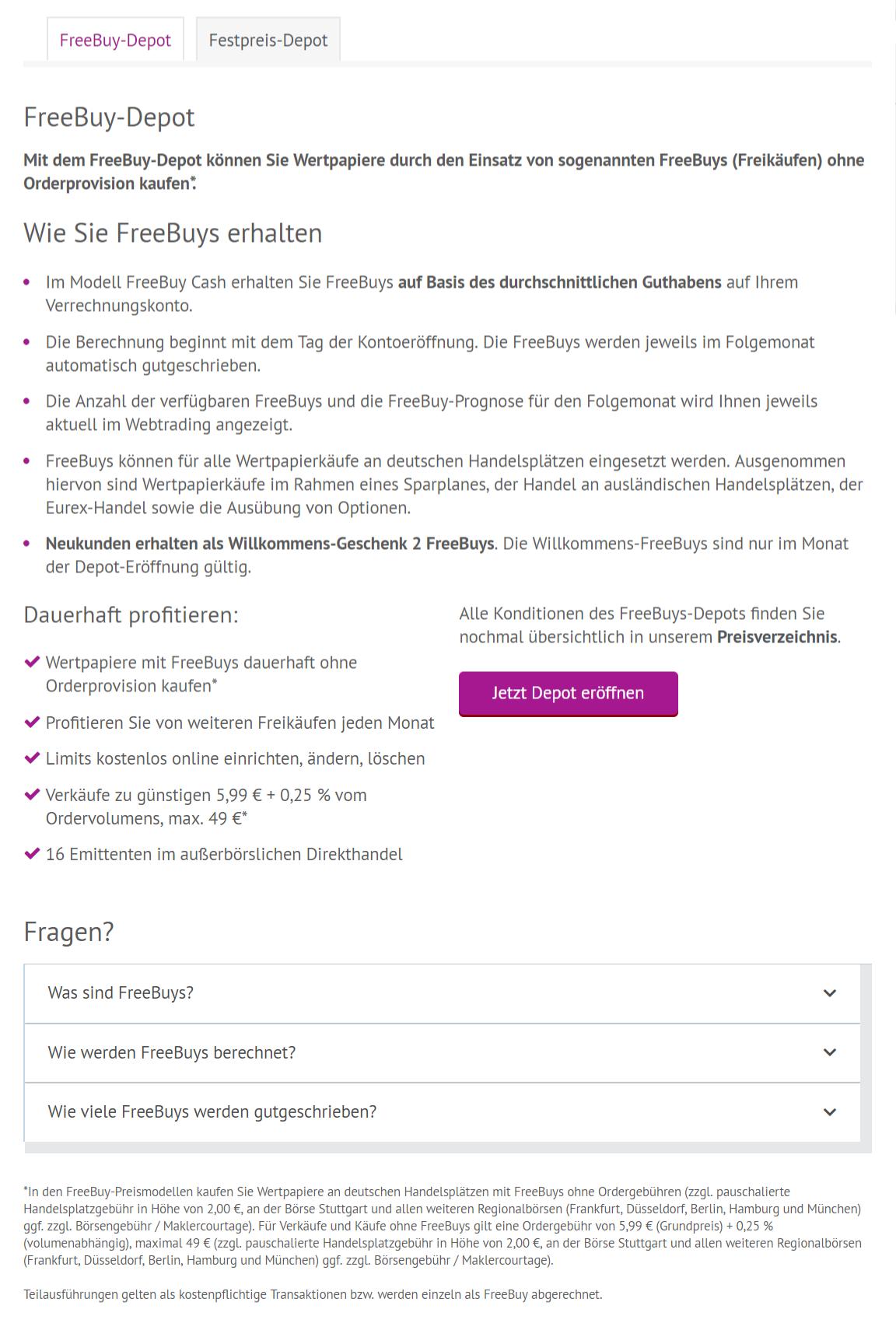 Freebuy_Depot_Uebersicht